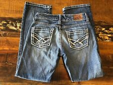 BKE Womens Culture Petite Stretch Factory Distressed Thick Stitched Sz 26