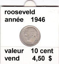 e 3 )pieces de 10 cent  1946   rooseveld  argent    voir description