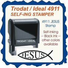 Jesus Fish, Trodat Printy / Ideal Self Inking Rubber Stamp, 4911 Black Ink