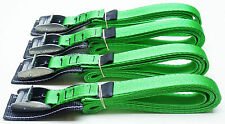 4-pack of 3.0m TOUGH PADDED Cam Buckle Straps Green - Lashing Strap Trailer Belt