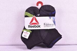 Youth Boy's 6-Pair Reebok Quarter Cut Performance Socks Black & Grey Choose Size