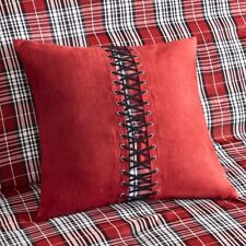 "RED PLAID 18"" PILLOW : BLACK LACED CABIN LODGE ACCENT CHECK WESTERN CUSHION"