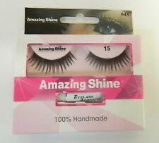 AMAZING SHINE HUMAN HAIR FALSE EYELASHES EYE LASHES - #15 - WITH ADHESIVE TUBE