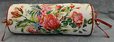 Corded Bolster Neck Pillow made w Ralph Lauren Belle Harbor White Floral Fabric
