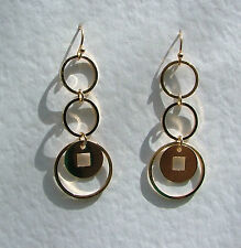 """2"""" GOLD PLATED DANGLEY RINGS EARRINGS......NECKLACE LISTED TOO"""