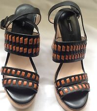 Mango Leather & Wooden Block Ankle strap Sandal Size 4UK/37EU