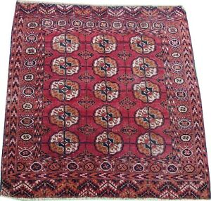 Oriental Carpet Antique Tekke Turkmen handmade  wool rug in pink 4.4 x 3.7 FT