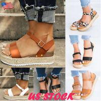 Women's Wedge Heel Sandals Ladies Summer Platform Open Toe Espadrilles Shoes USA