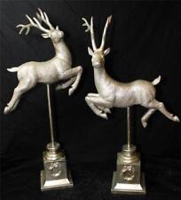 Reindeer Deer Statue Gold Silver Leaping Reindeer Pedestal Raz New w Defect