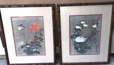 Pair of Chiu Weng Watercolor Art Prints Birds & Blossoms SIGNED/FRAMED