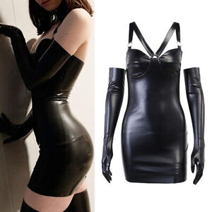 Women Gothic PU Dress Gloves Outfits Clothes Costume Slim Black Dress 2PCS Sexy