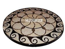 """48"""" Black Marble Top Dining Table Precious Marquetry Inlay Living Home Decor"""