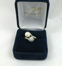 Bague or blanc diamants et perle