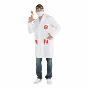 Men's Hot Shot Doctor Costume With Plastic Toy Drink Syringes
