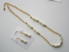 White Pearls, Rhinestone, and Gold Chain Necklace and Earring Set