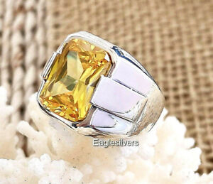 Luxury Design Yellow Zircon Stone solid 925 Sterling Silver Men's Woman's Ring