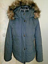 Women's slate blue padded winter hooded jacket size 12 Indigo M&S