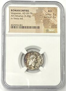 Roman Empire Vespasian AD 69-79 Silver Denarius NGC AU #10 of the 12 Caesar's