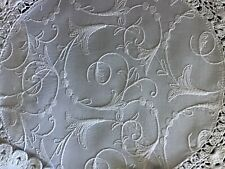 SET 4 VINTAGE WHITE TABLE MATS~ WHITEWORK EMBROIDERY & CROCHET LACE TRIM.