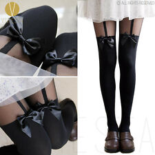New Vintage Sexy Cute Stockings Pantyhose Tattoo MOCK BOW SUSPENDER SHEER TIGHTS