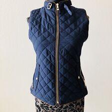 Zara Excursion Puffer Vest Medium Navy Blue Quilted Puff Brown Gold Stretch