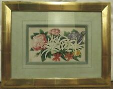 Framed Antique Georgian Rice Paper Floral Painting Picture of Flowers