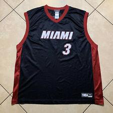 Authentic NBA Miami Heat Dwayne Wade #3 Jersey Black Red Adidas 2XL XXL NWOT