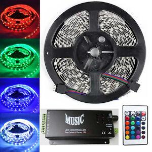 5M 300 Leds 5050 RGB Led Strip Lights Indoor Lamp+ Music Sound Sensor Controller