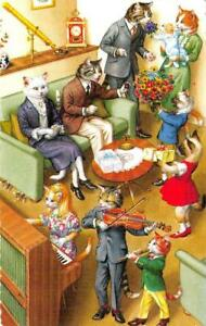 Alfred Mainzer  DRESSED CATS #4751  Music Recital For Grandparents  Postcard