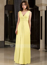 A-Line V-neck Wrapped Bodice Floor-length Chiffon Bridesmaid Dress UK14 Daffodil