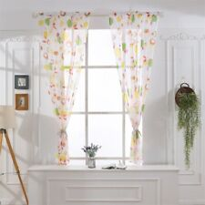 Floral Room Door Curtain Sheer Panel Valances Window Voile BO Scarf Tulle Drape