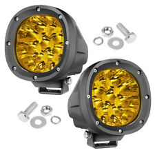 """2X 4"""" Round LED Spot Light Pods Work Flood Amber Driving Fog Lamp Offroad 4WD US"""