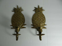 Pair Brass Pineapple Candle Holders Wall Decor Sconces Textured Made in India