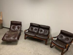 Tessa T8 3 piece lounge suite - Brown Leather