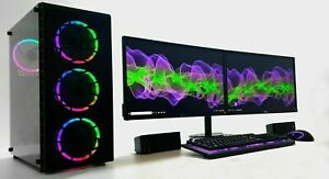 "Gaming PC Dual 22"" Monitor Setup i7 3770 240 SSD 1TB 16GB Ram GTX 1050Ti 1650"