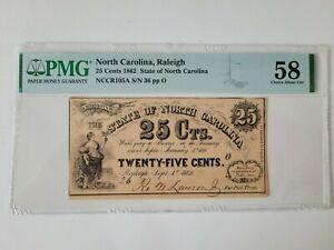 25 Cent 1864 North Carolina Confederate Currency PMG GRADE 58 C A U