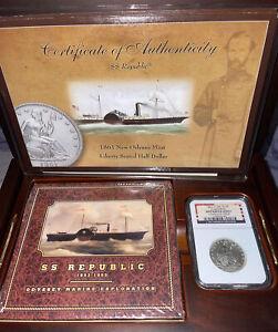1861 O RARE W-04 SILVER SEATED HALF DOLLAR SS REPUBLIC SHIPWRECK NGC LOUISIANA