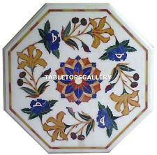 1'x1' White Marble Top Coffee Table Marquetry Inlay Work Floral Design H4324