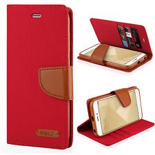 ^ Book Case CANVAS Cover Hülle Handy Tasche Etui Buch Huawei P10 Lite Rot