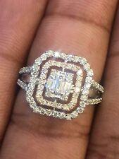 Pave 0,68 Cts Runde Brilliant Cut Natürliche Diamanten Halo Ring In 14K Weißgold