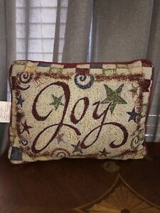 """Tapestry""""JOY"""" Handmade & Embroidered Christmas Accent Throw Pillow. Excellent Co"""