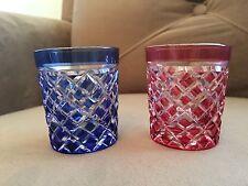 Kagami Japanese Crystal Pair Sake Cups Glasses EDO KIRIKO Cut Yarai Pattern