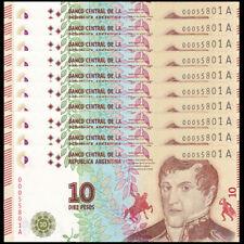 Lot 10 PCS, Argentina 10 Pesos, ND(2016), P-360, UNC