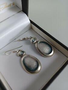 Sheila Fleet Large silver Pebble Earrings