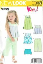 Toddler Girls 5 Pieces New Look Easy 6473 Sizes 1/2-4 Dress 2 Tops Pants Shorts