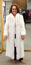 """Frosted dyed Letout Split Mink Fur With Frosted Fox Tuxedo 46"""" Coat; Size 4-6"""