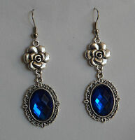 CAMELLIA FILIGREE VICTORIAN STYLE TURQUOISE SILVER PLATED DROP EARRINGS CFE Hook