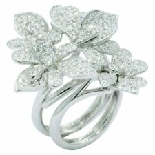 Silver Ring With 3.58 Carat Cz Cubic Zirconia Floral Two-Finger Engagement 925
