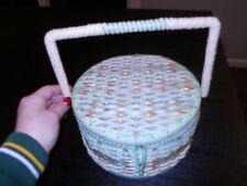 Sewing Basket Wicker Vintage Round Green Retro Crafts Materials Sew 1940's 1950
