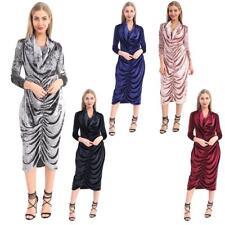 MEGA SALDI DONNA STELLE LOOK Designer velluto spiegazzato da sera vestito CRESPO